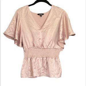 Express Light Pink Flutter Sleeve Top